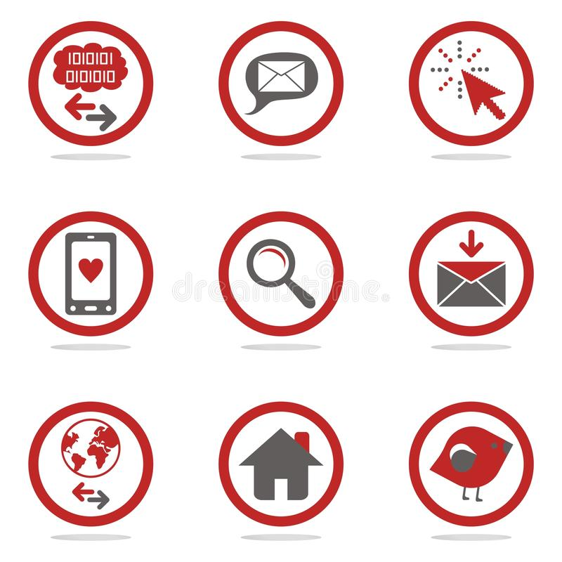 Internet icons. Concept in two colors royalty free illustration