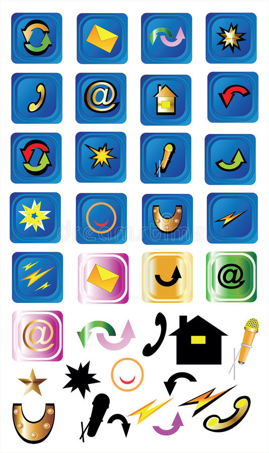 Download Internet icons stock vector. Illustration of email, chat - 24123876