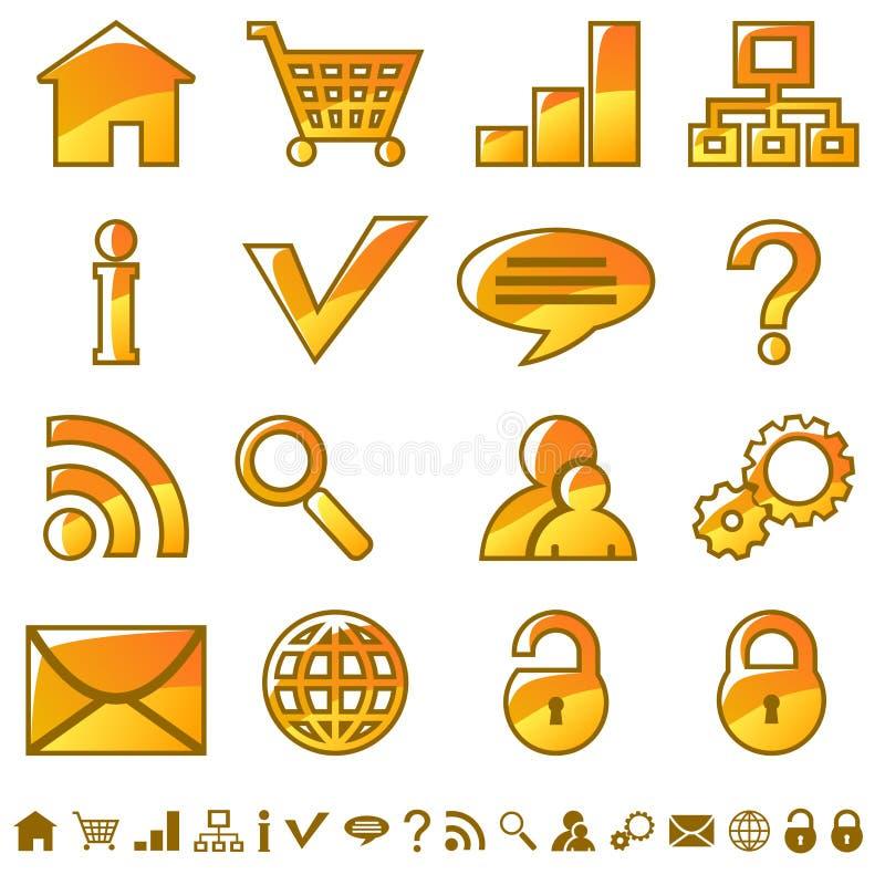 Internet icons. Set of yellow web icons vector illustration