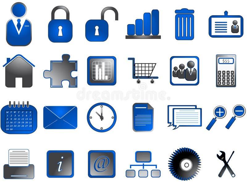 Internet icons. Illustration of internet icons, blue vector illustration