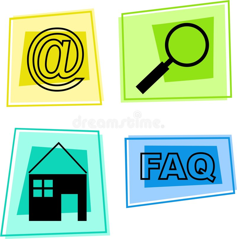 Internet icons. Email, search, home, frequently asked questions stock illustration
