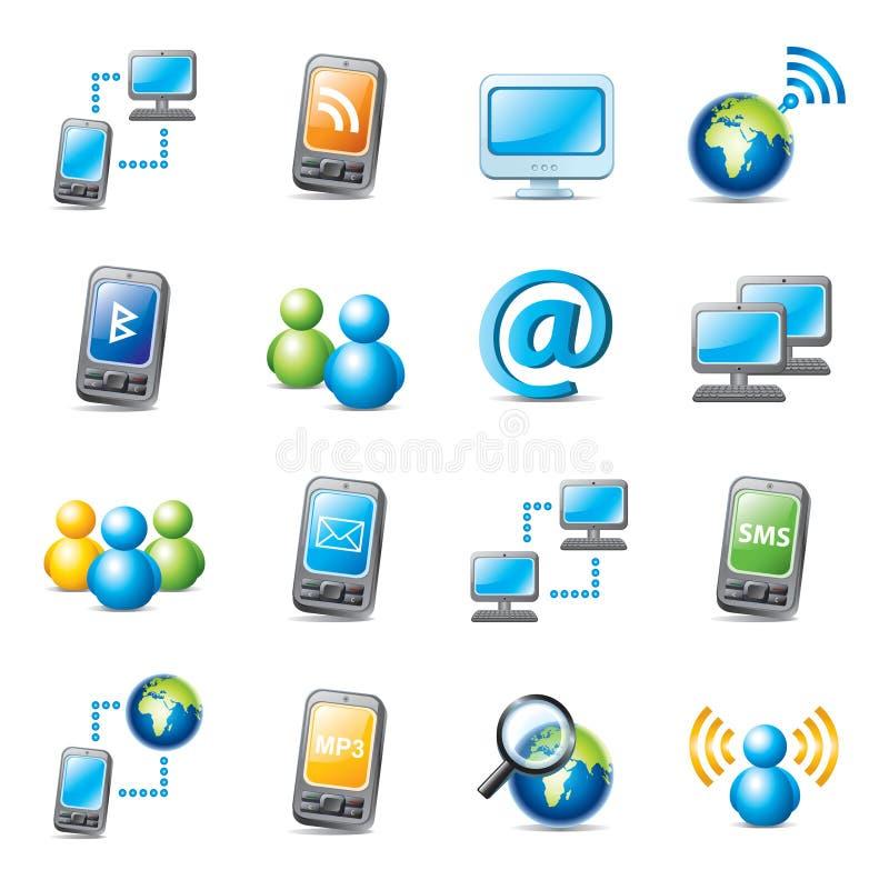 Internet icons. Set of colorful web icons isolated on white