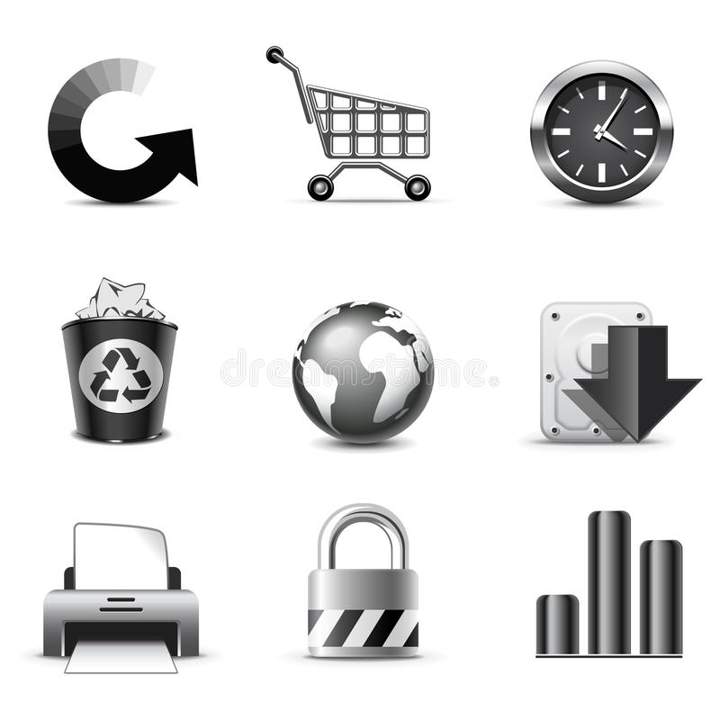 Internet icons | B&W series vector illustration