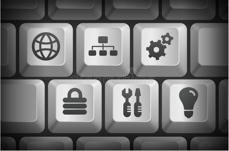 Internet Icons on Computer Keyboard Buttons stock illustration