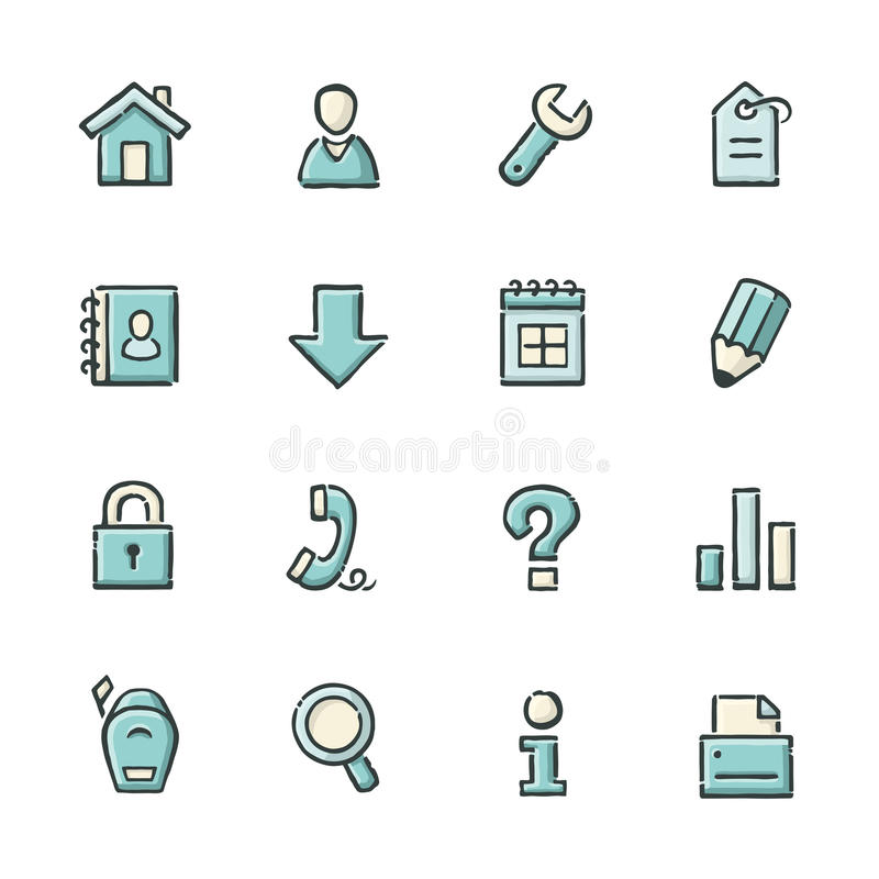Internet Icons. Hand drawn blue and beige internet and website icons. File format is EPS8 vector illustration