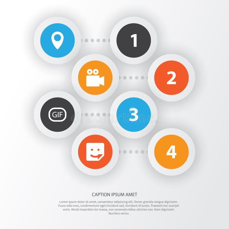 Internet-Ikonen stellten ein Sammlung Chat, Pin, GIF-Aufkleber und andere Elemente Schließt auch Symbole wie Gespräch ein lizenzfreie abbildung