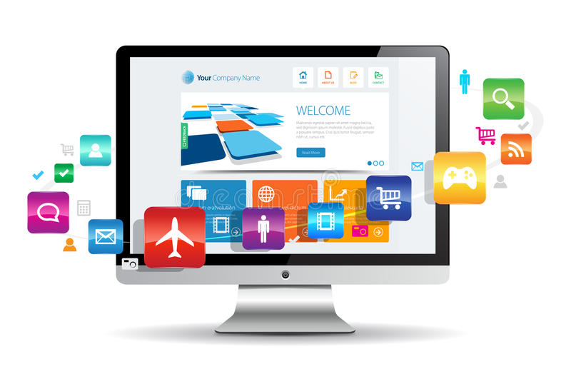 Internet. This image is a vector file representing a internet apps concept royalty free illustration