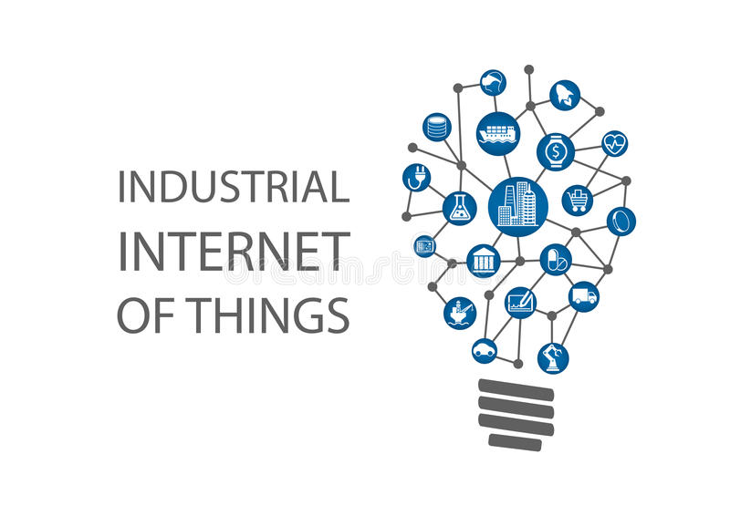 Internet industrial de las cosas (industria 4 0) ejemplo stock de ilustración