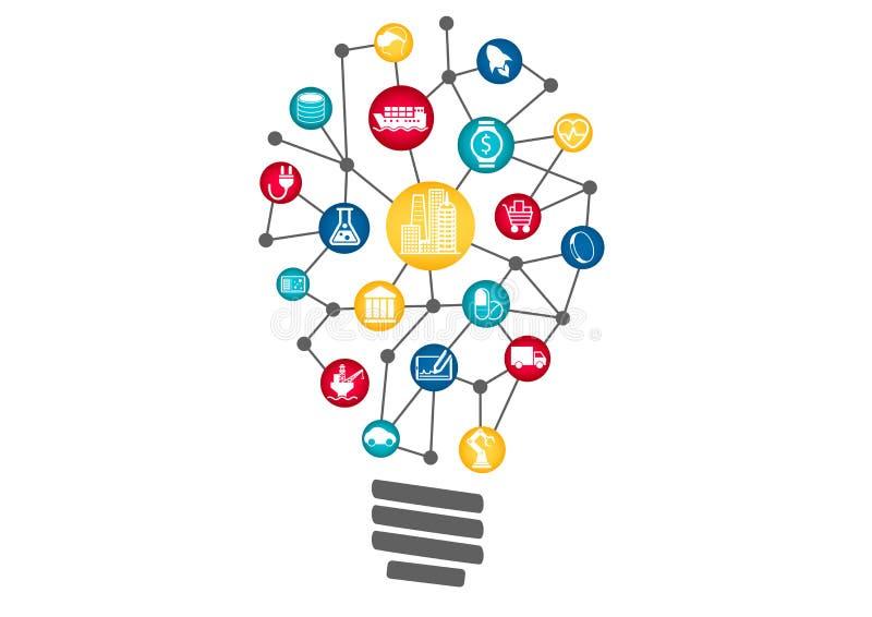 Internet industrial del concepto de las cosas representado por la bombilla Concepto de nuevas ideas perturbadoras del negocio ilustración del vector