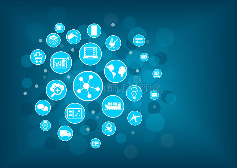 Internet industrial do conceito das coisas (IIOT) Ilustração do vetor dos ícones ilustração royalty free