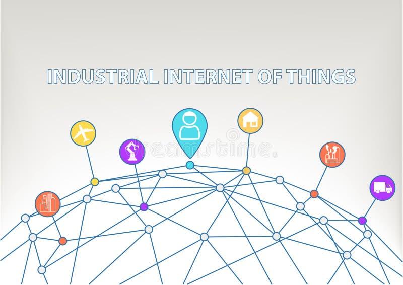Internet industrial do fundo das coisas com ícones/símbolos coloridos da casa esperta etc. ilustração royalty free