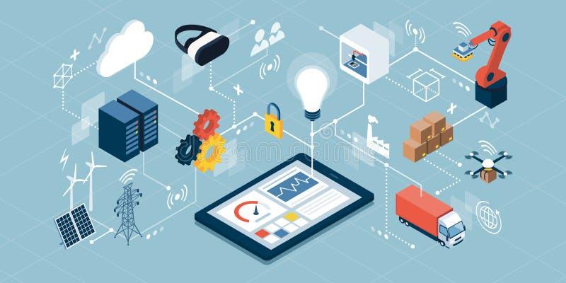 Internet industriale delle cose e della fabbricazione innovatrice illustrazione di stock