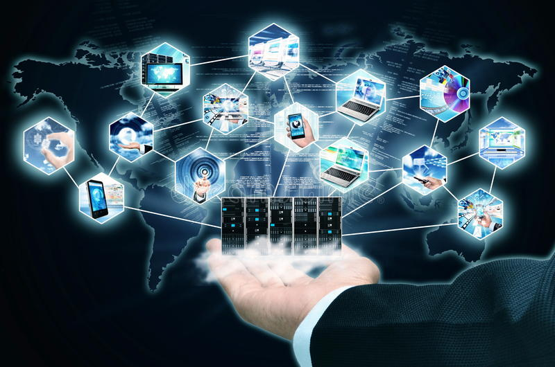 Internet Information Technology. Businessman hand showing the Concept of Internet and Information Technology royalty free stock image