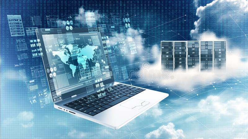 Internet information technology concept. Laptop Computer showing internet data processing screen stock photo