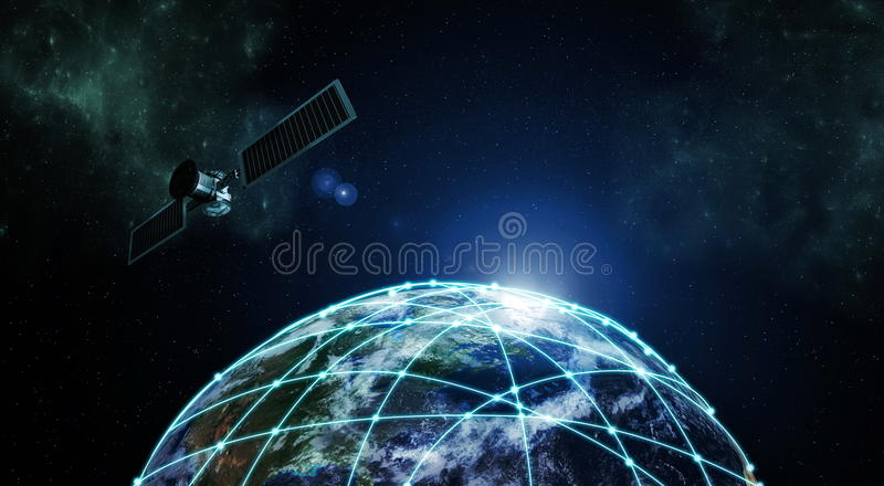 Internet Information technology. Image with outer space network connection over planet earth vector illustration