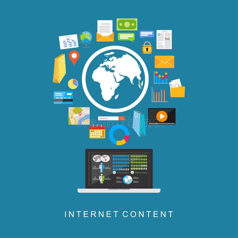 Internet-Inhoud De digitale diensten De diensten van verschillende media stock illustratie