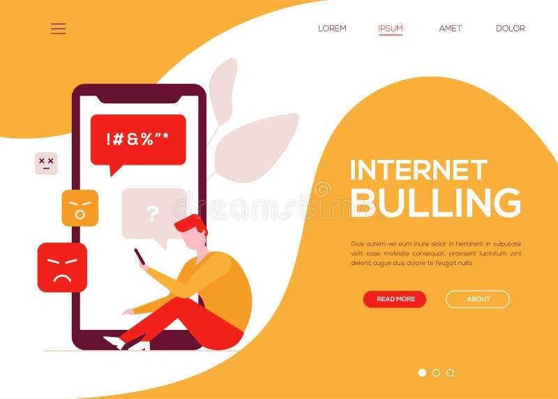 Internet-intimidatie - kleurrijke vlakke het Webbanner van de ontwerpstijl stock illustratie