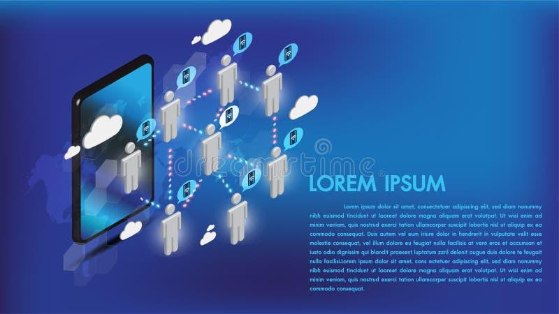 Internet isométrico del smartphone 3d conecta medios sociales con la gente y la transmisión de datos en red de telecomunicaciones libre illustration