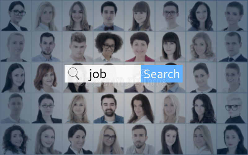 internet and job search concept - search bar over collage of people faces stock photography