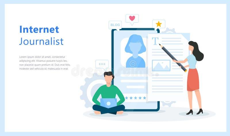 Internet-Journalistkonzept Idee des bloggenden und zufriedenen Schreibens vektor abbildung