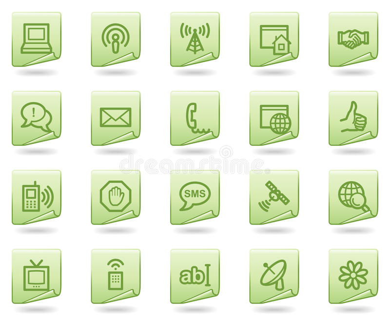 Internet-Kommunikationsweb-Ikonen, grünes Dokument lizenzfreie abbildung