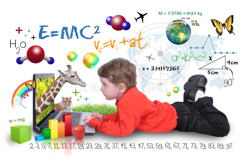 Internet laptop Boy with Learning Tools. A young boy child is looking at a laptop computer with math, science and animals around him. He is on a white background