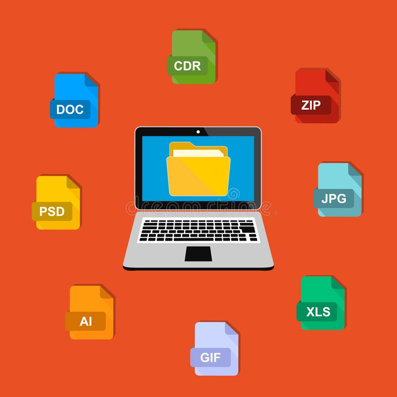 Internet. A laptop and an electronic folder with different file formats. Vector stock illustration. Flat design stock illustration