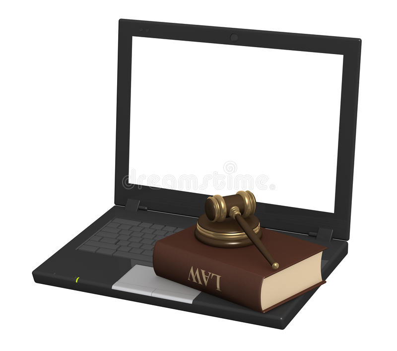 Internet and law. Conceptual image - Internet and law. 3d stock illustration