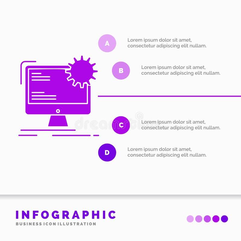 Internet, lay-out, pagina, plaats, statisch Infographics-Malplaatje voor Website en Presentatie Infographic stijl van het GLyph d vector illustratie