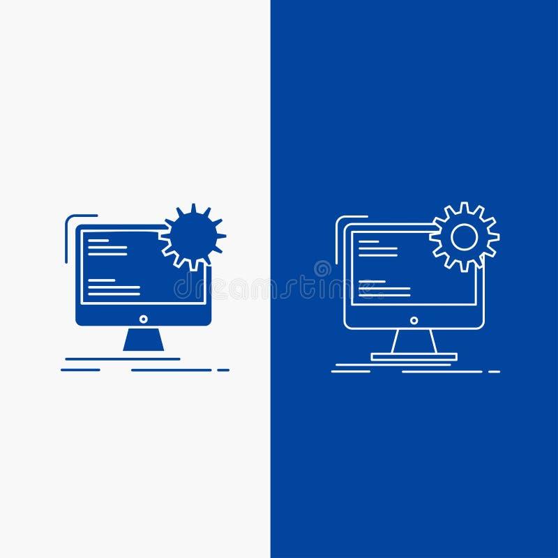 Internet, lay-out, pagina, plaats, statische Lijn en Glyph-Webknoop in Blauwe kleuren Verticale Banner voor UI en UX, website of  vector illustratie