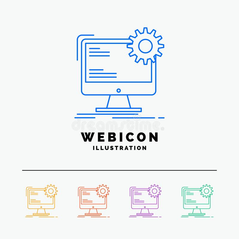 Internet, layout, page, site, static 5 Color Line Web Icon Template isolated on white. Vector illustration royalty free illustration