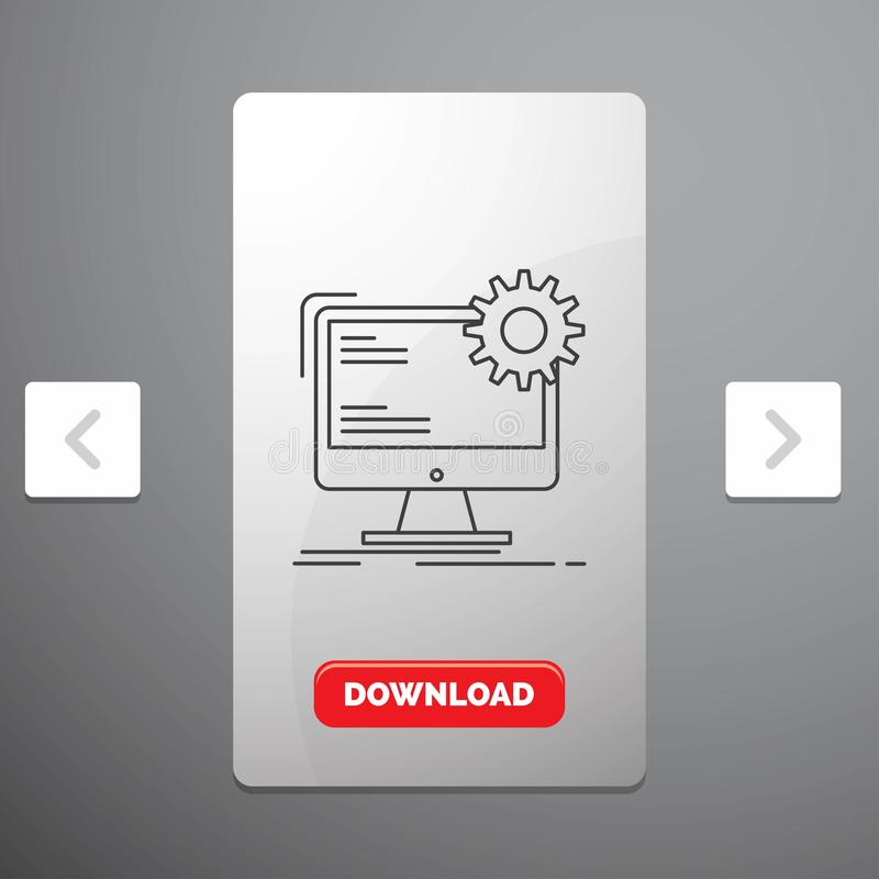 Internet, layout, page, site, static Line Icon in Carousal Pagination Slider Design & Red Download Button vector illustration