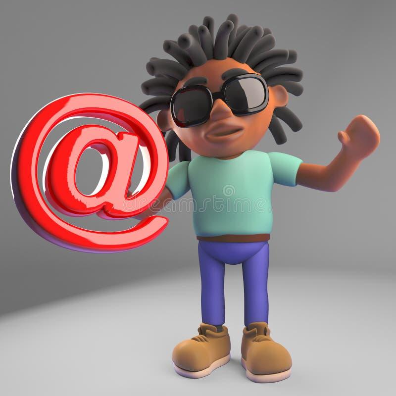 Internet lette op de zwarte mens met dreadlocks die een e-mailsymbool, 3d illustratie houden stock illustratie