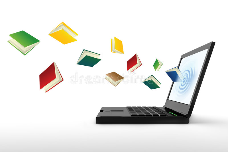 Internet library. Information and knowledge from internet vector illustration