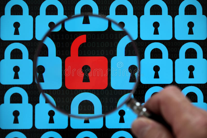 Internet lock. Internet security concept open red padlock virus or threat of hacking