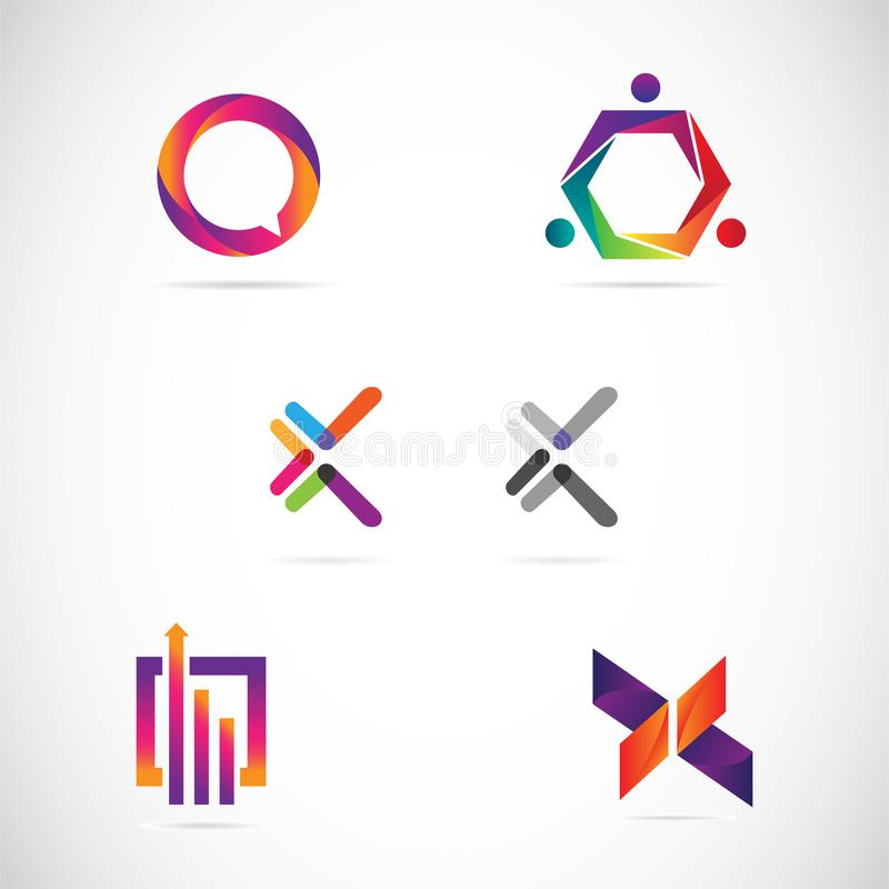 Internet Logo Design Collection Template variopinto di web illustrazione vettoriale