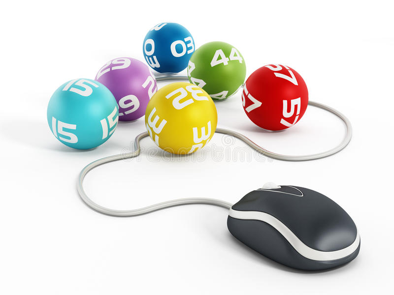 Internet lottery. Concept with computer mouse connected to lottery balls royalty free illustration