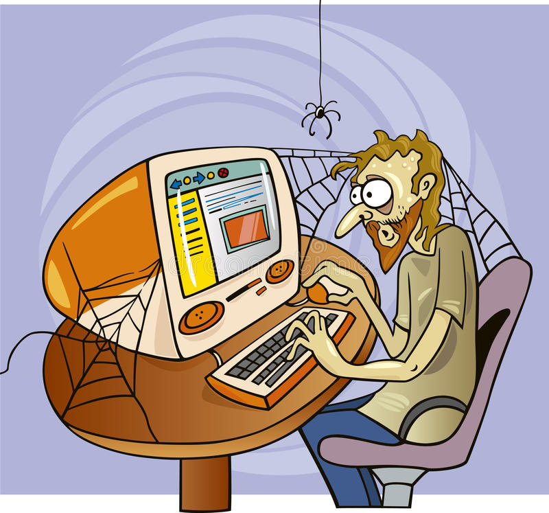 Internet maniac. Cartoon illustration of manic internet user stock illustration