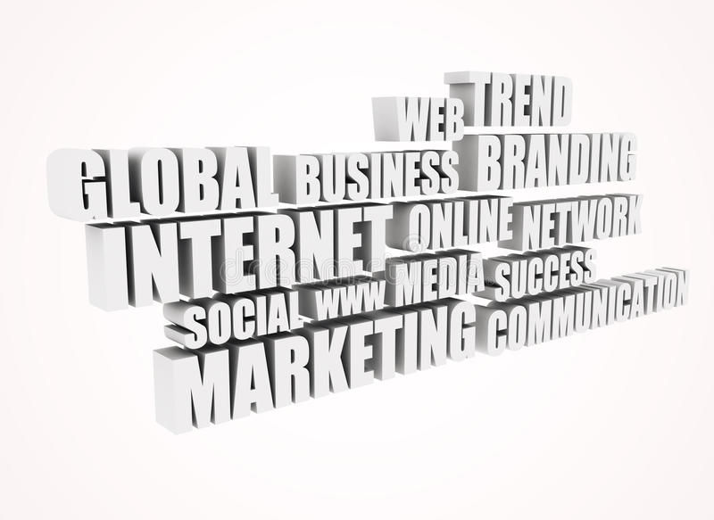 Internet market related words - 3d text royalty free stock images