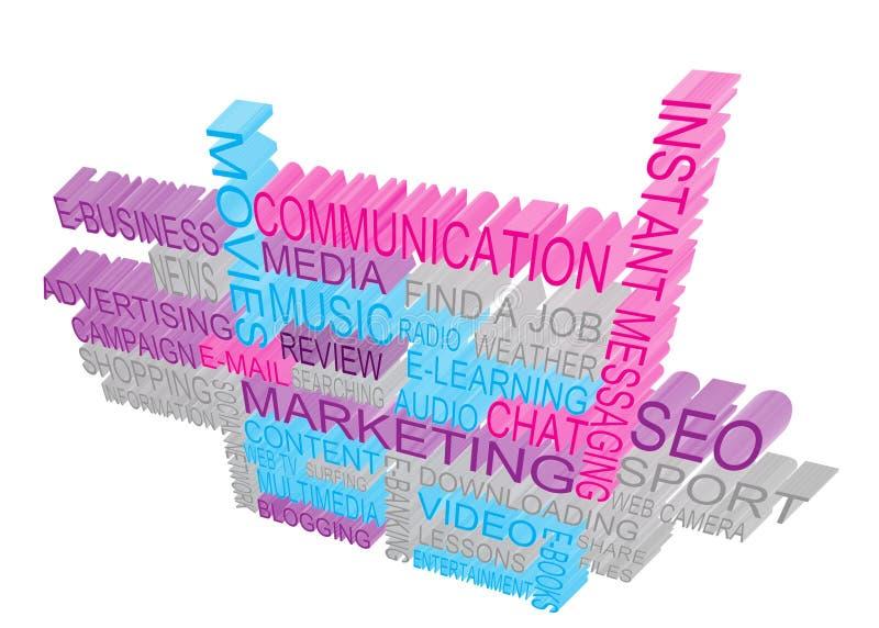 Internet Marketing. 3D marketing concept for Internet stock illustration