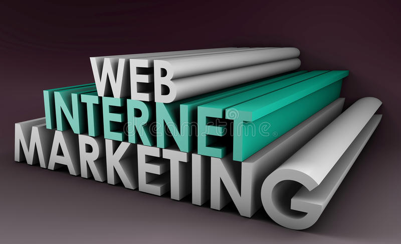 Internet Marketing. On the Web in 3D Form stock illustration