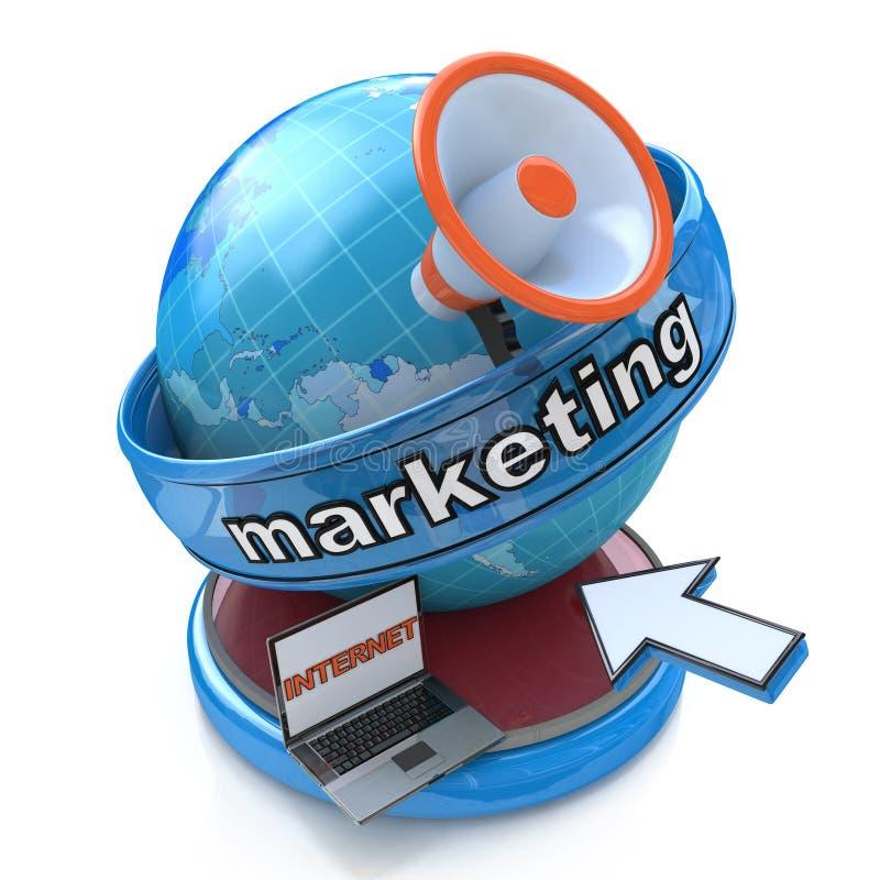 Internet-Marketing - Aardebol met megafoon en muiscurseur vector illustratie
