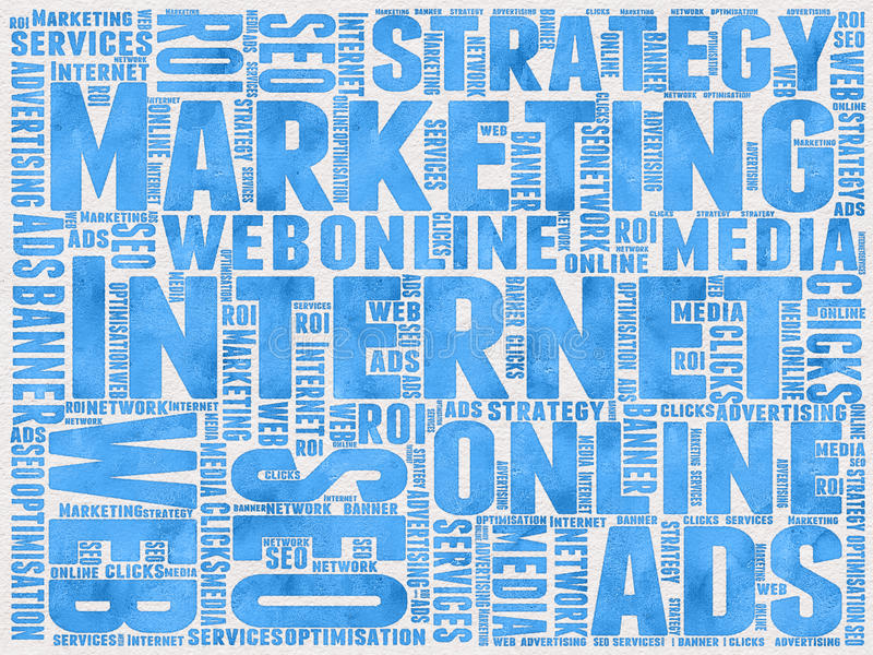 Internet Marketing background. Internet marketing related words written with ink on paper for background stock illustration