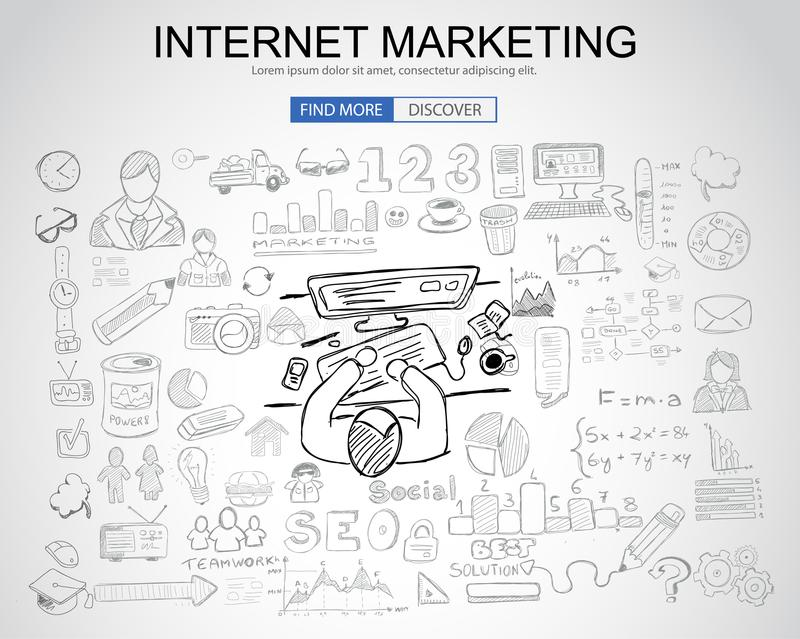 Internet Marketing concept with Business Doodle design style: on stock illustration