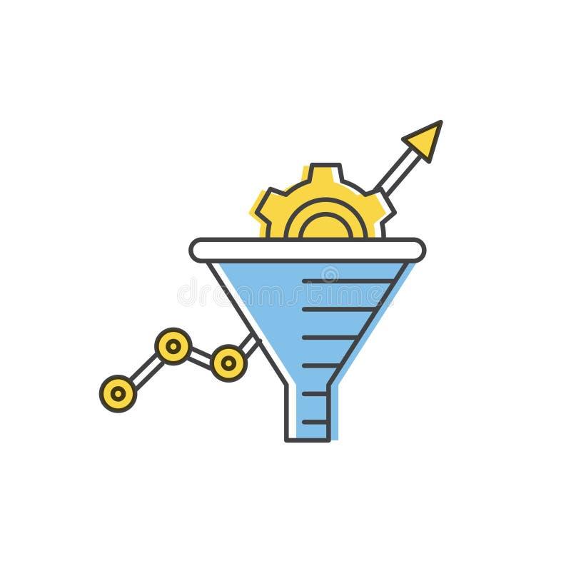 Internet-marketing concept Vector de lijnpictogram van de verkooptrechter vector illustratie