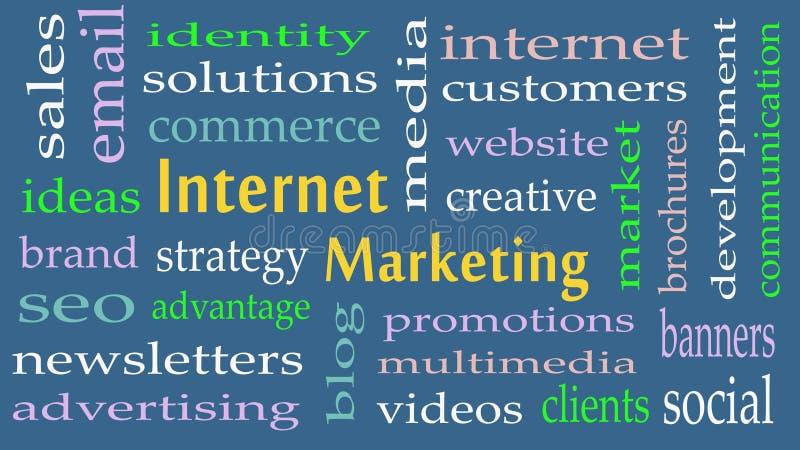 Internet-Marketing de wolkenachtergrond van het conceptenwoord vector illustratie