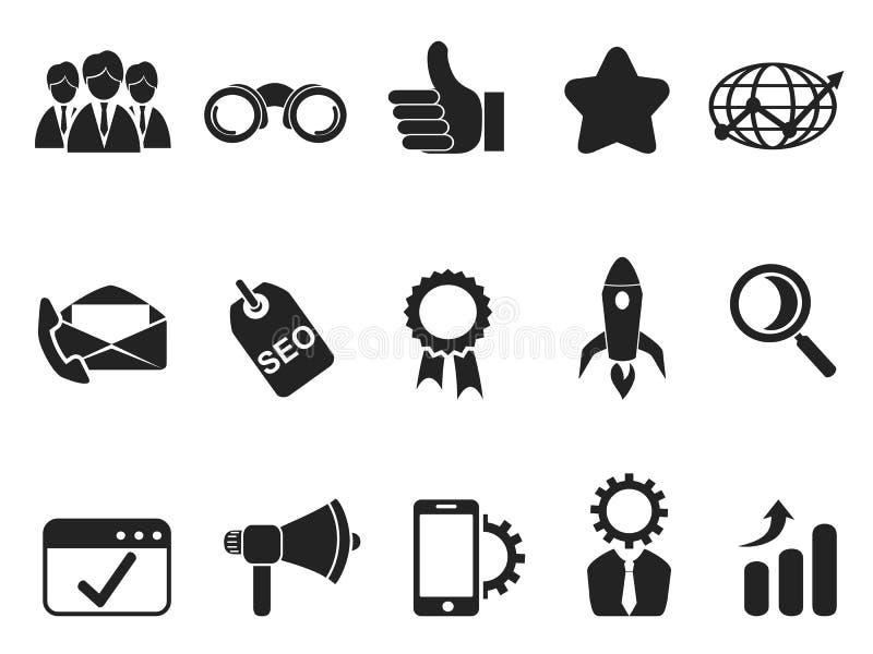 Internet-Marketing Geplaatste Pictogrammen vector illustratie