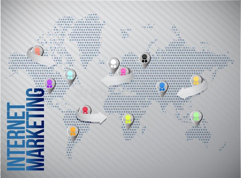 Internet marketing global network royalty free illustration