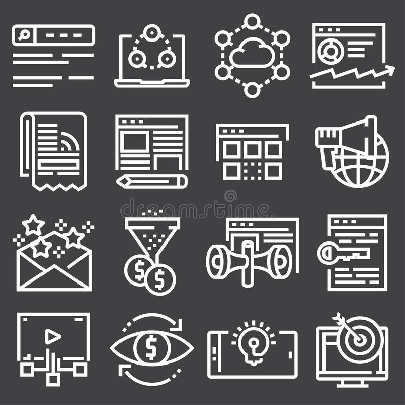 Internet marketing icon set in thin line style stock illustration