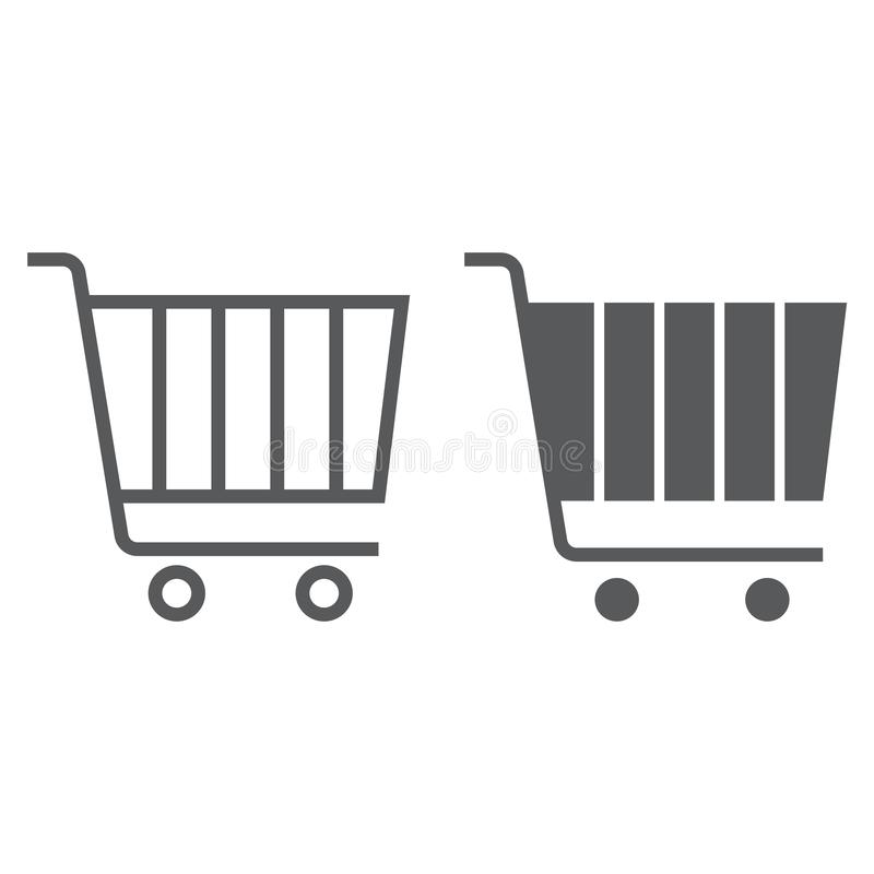 Internet marketing line and glyph icon, market and commerce, shopping cart sign, vector graphics, a linear pattern vector illustration